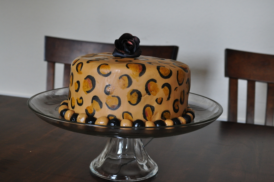 Leopard Cake White Cake With Chocolate Marble With Leopard Print Inside Fondant Covered on Cake Central