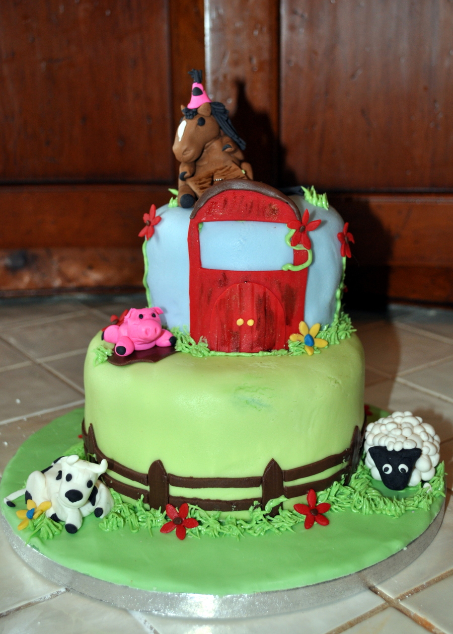 Farm Birthday Cake Fondant Covered With Gumpaste Accents on Cake Central