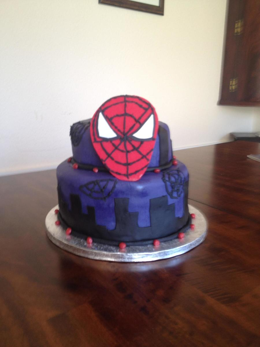 Spiderman Cake For 5Th Birthday Chocolate Cake With Choc Buttercream Fondant Covered Gumpaste Spiderman Face on Cake Central