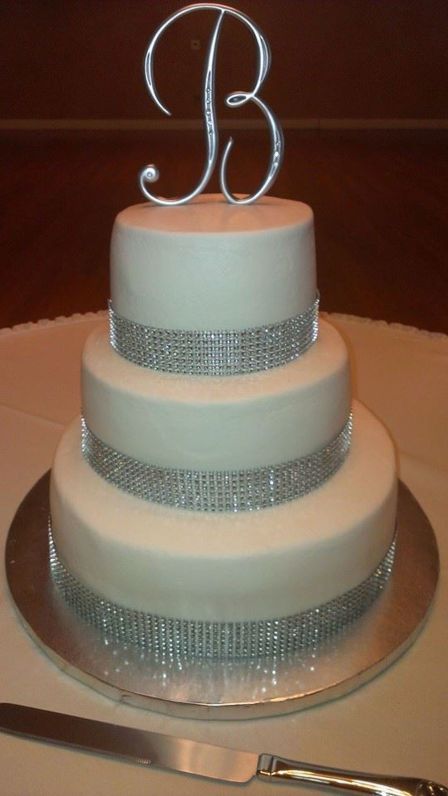 Simple White And Silver Wedding Cake All Bc - CakeCentral.com