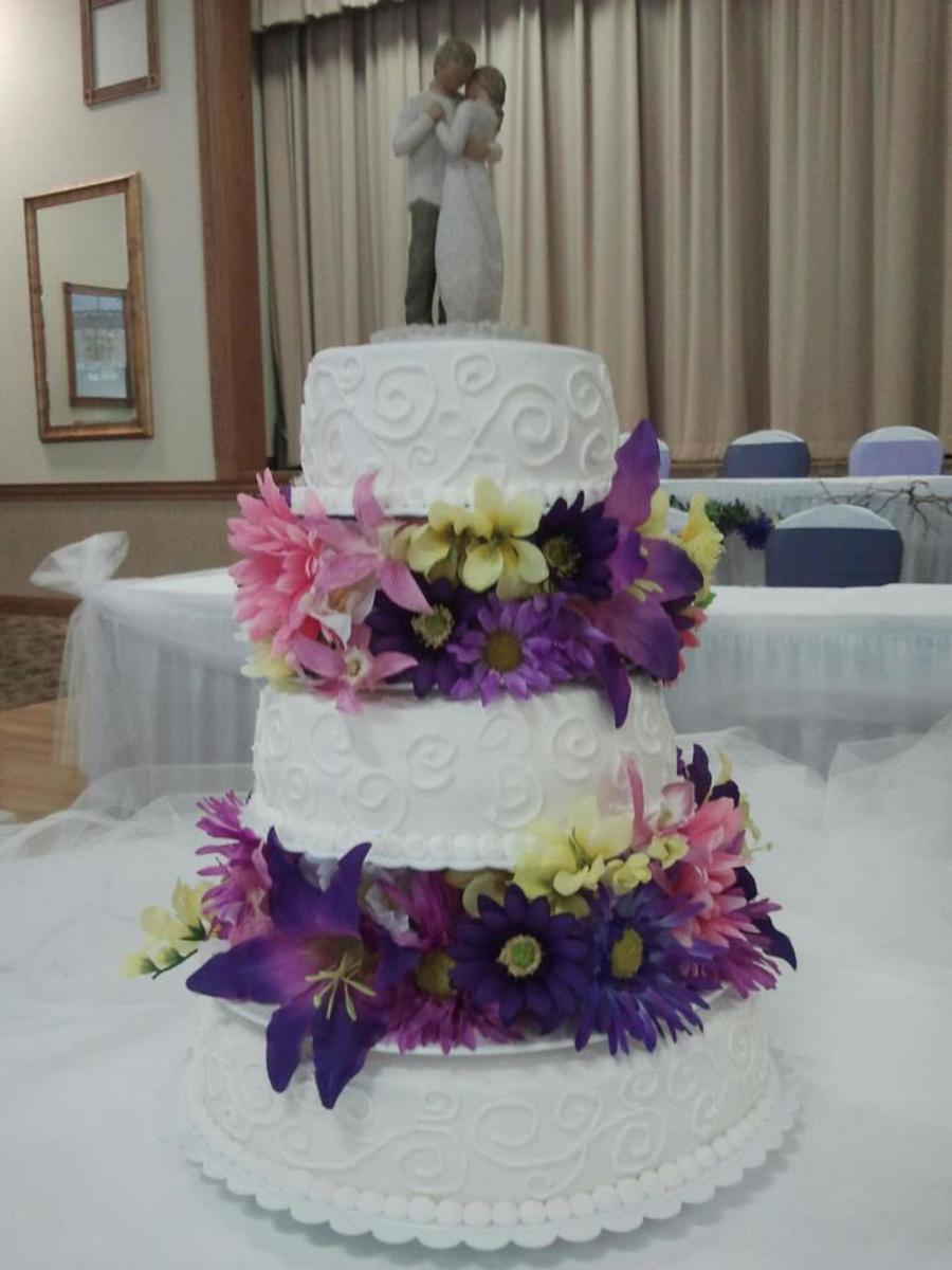 Separate Tiered Wedding Cake With Flowers All Bc on Cake Central