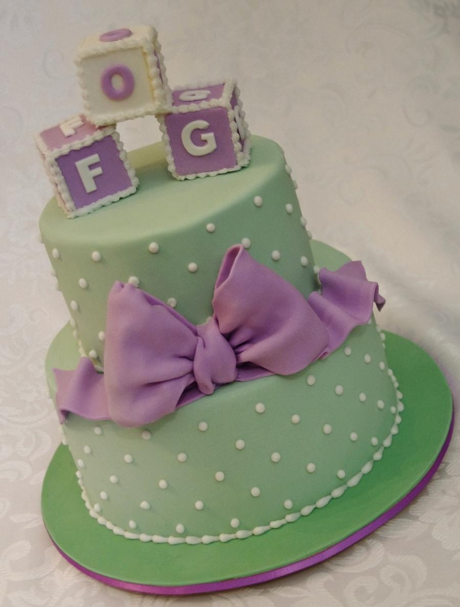 Baby Shower Cakes Mint Green Purple Yellow Girl