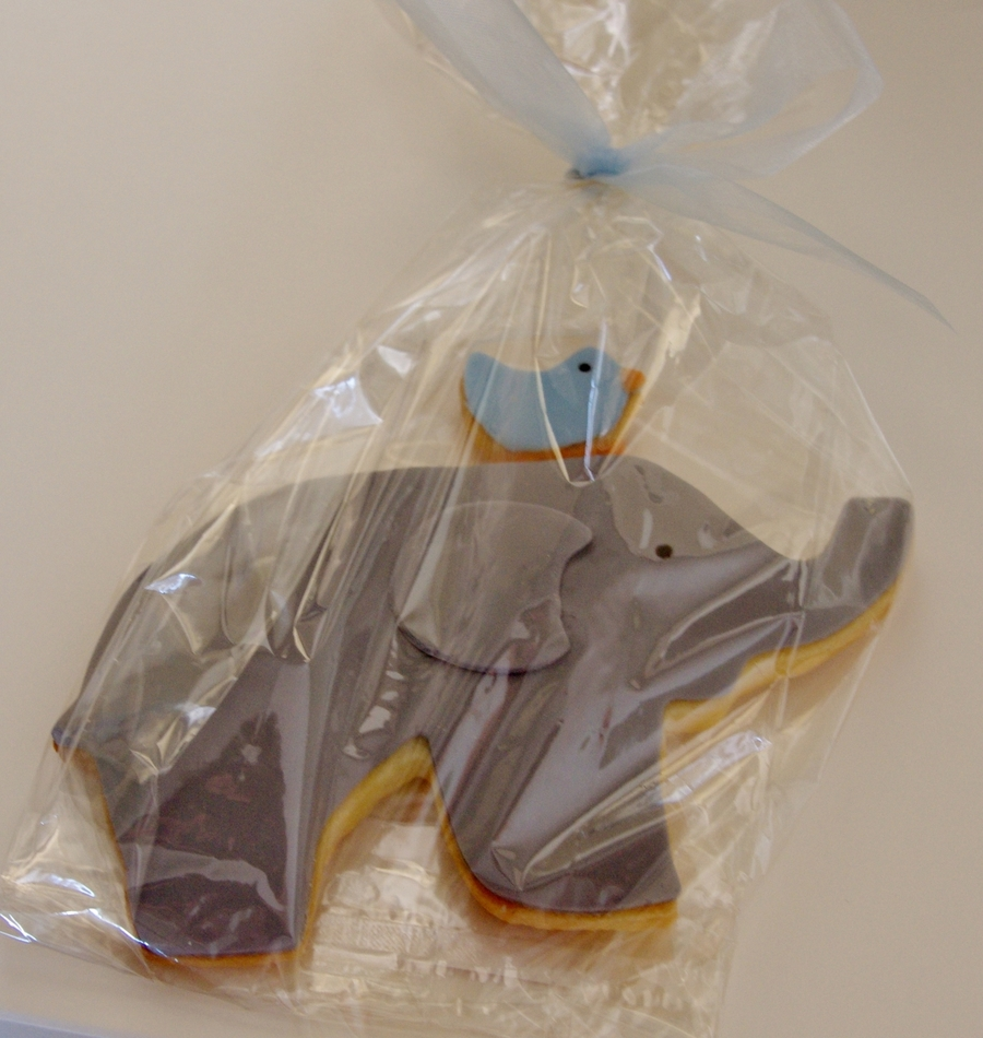 Baby Naming Day Cookies - Elephants With Birds  on Cake Central