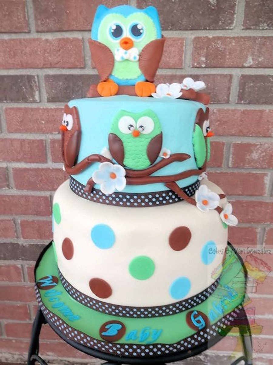 Owl baby shower cake for Baby shower cake decoration idea