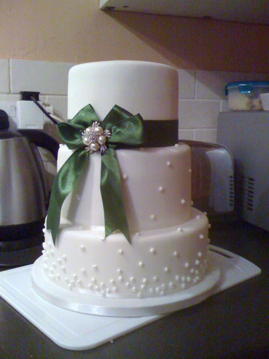 My First Attempt At A Wedding Cake This Is My 4Th Overall Fondant Cake Vanilla Sponge With Buttercream And Red Cherry Preserve 10 on Cake Central