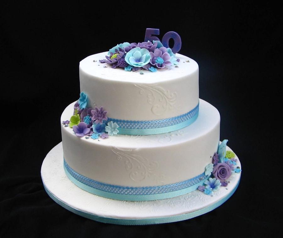 Sensational Blue Purple 50Th Birthday Cake Cakecentral Com Personalised Birthday Cards Arneslily Jamesorg