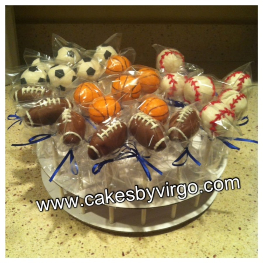 Sports Themed Cake Pops Basketball Football Baseball Soccer on Cake Central