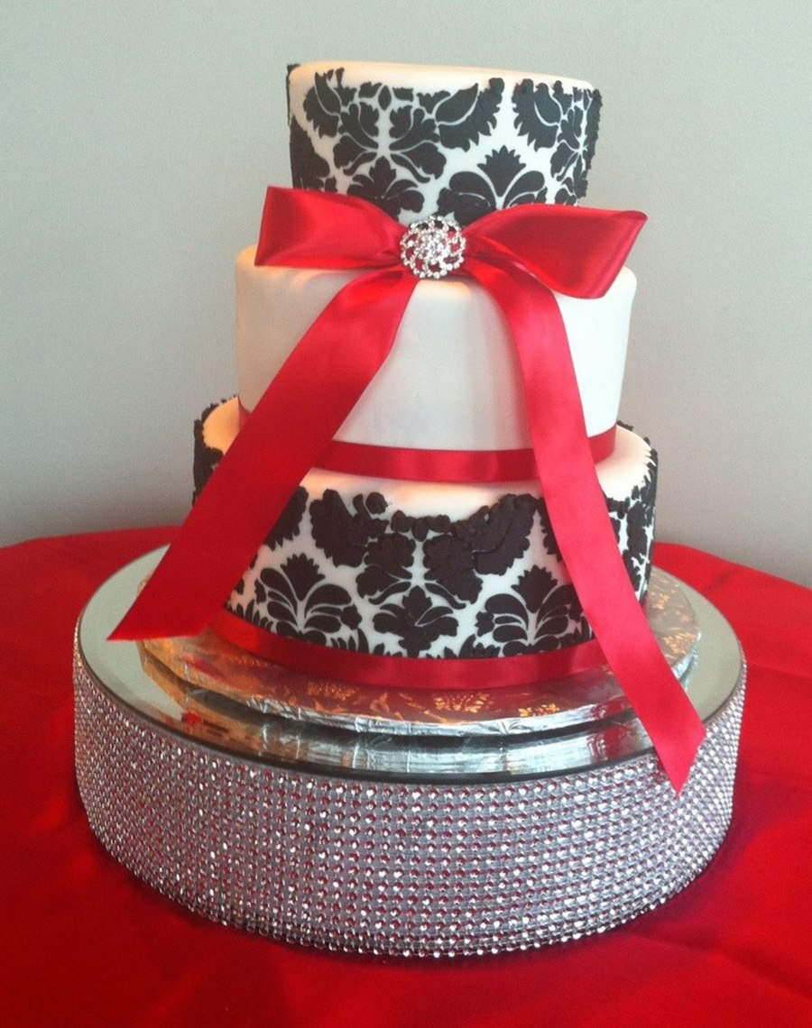 Damask Black White And Red Wedding Cake on Cake Central