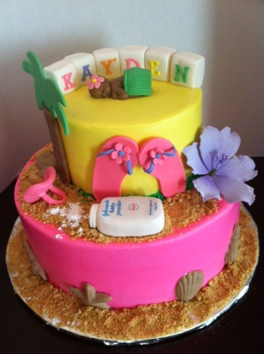 Luau Tropical Baby Shower Cake  on Cake Central