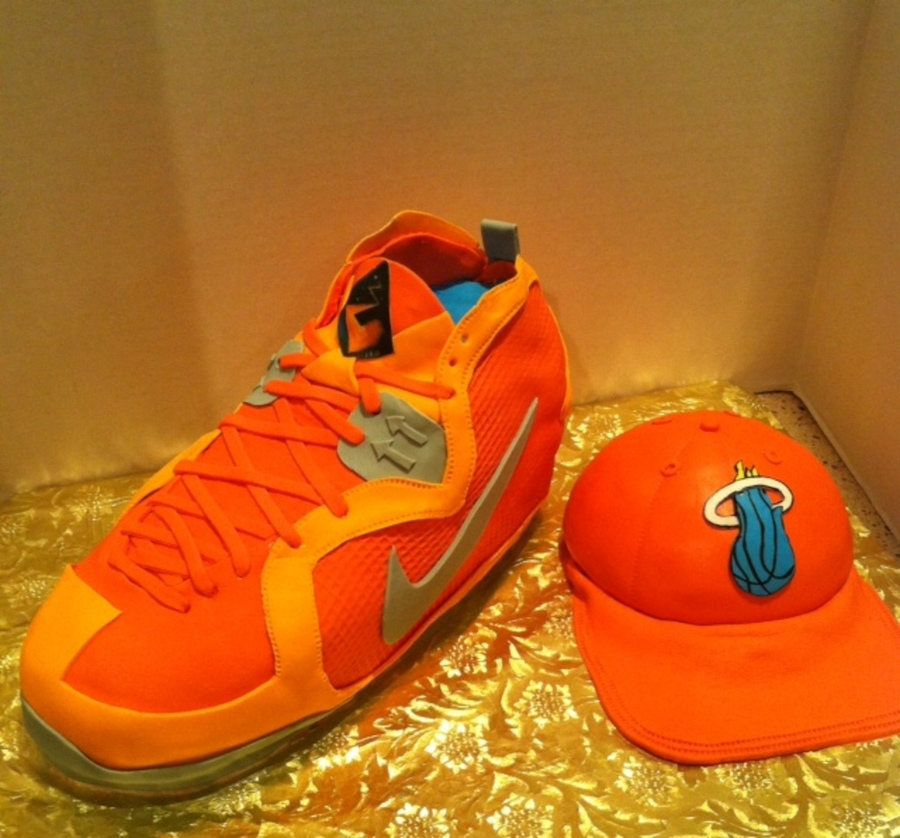 Orange Nike Lebron Shoe And Miami Heat Cap on Cake Central