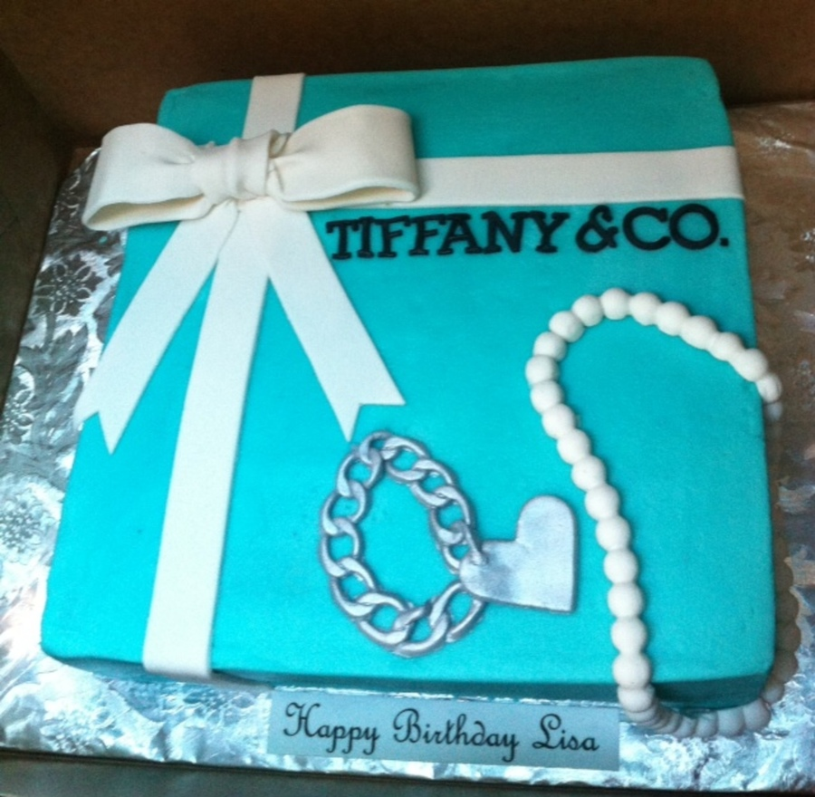Tiffany Amp Company Birthday Cake With Charm Bracelet And Pearls on Cake Central