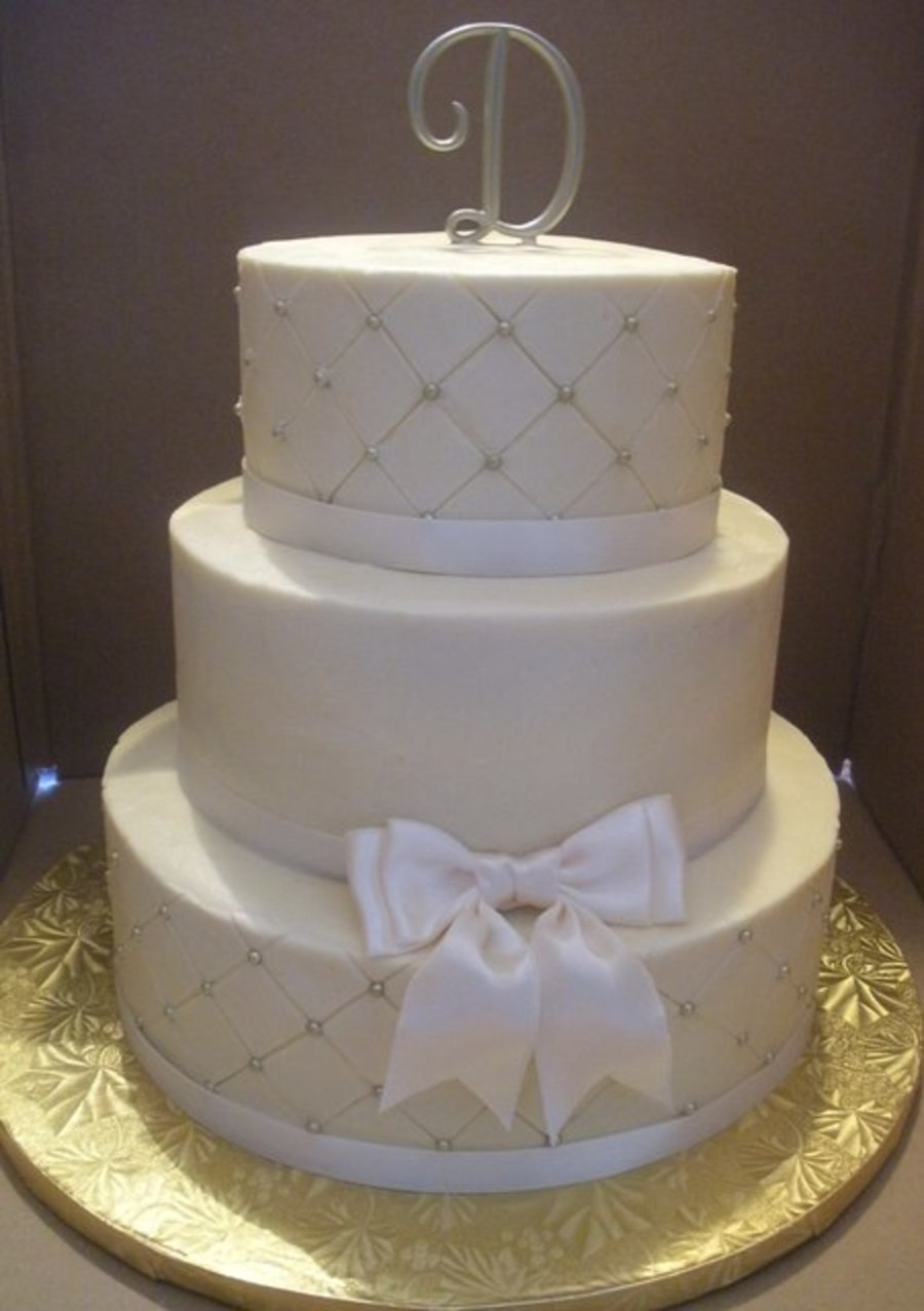 Simple Ivory Wedding Cake on Cake Central