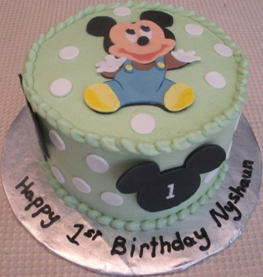 Swell Baby Mickey 1St Birthday Cakecentral Com Funny Birthday Cards Online Alyptdamsfinfo