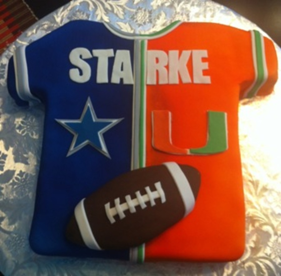 Dallas Cowboys University Of Miami Football Jersey  on Cake Central