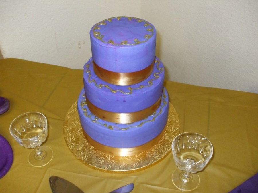 Purple And Gold Swirls on Cake Central