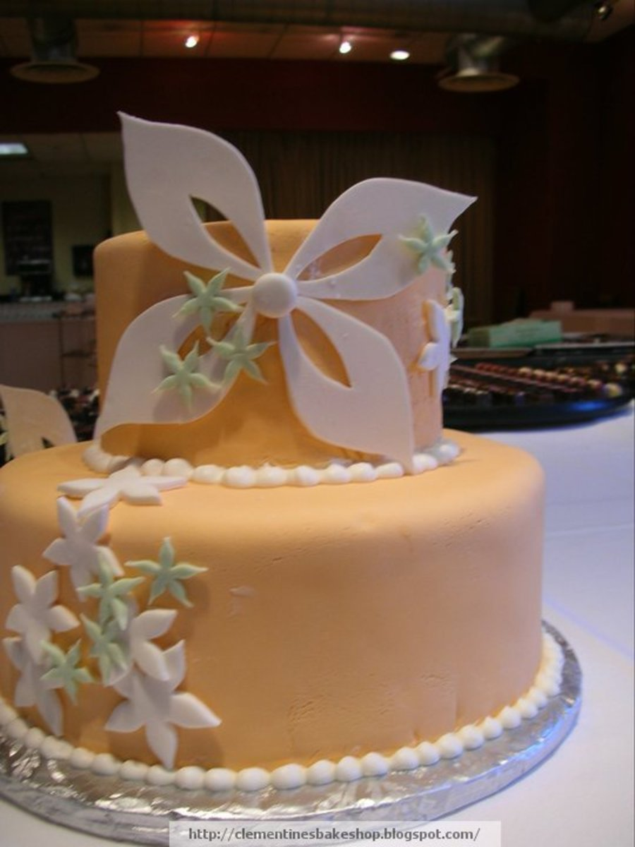 Peach Wedding Cake on Cake Central
