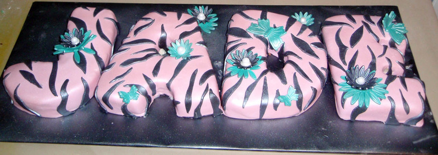 Pink Zebra Name Cake on Cake Central