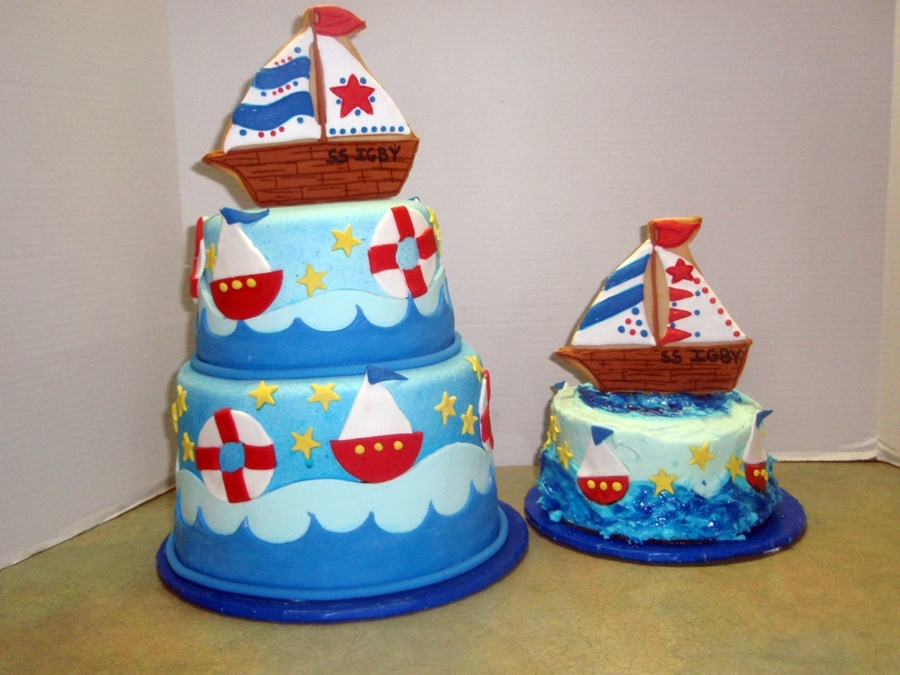 Nautical 1St Birthday With Cookie Toppers on Cake Central