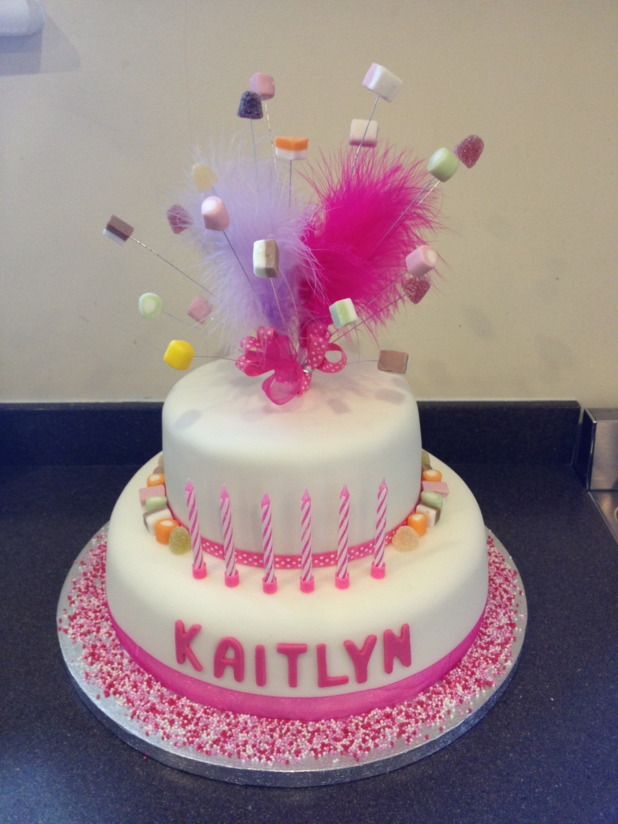 Two-Tier Pink Birthday Dolly Mixtures Cake on Cake Central