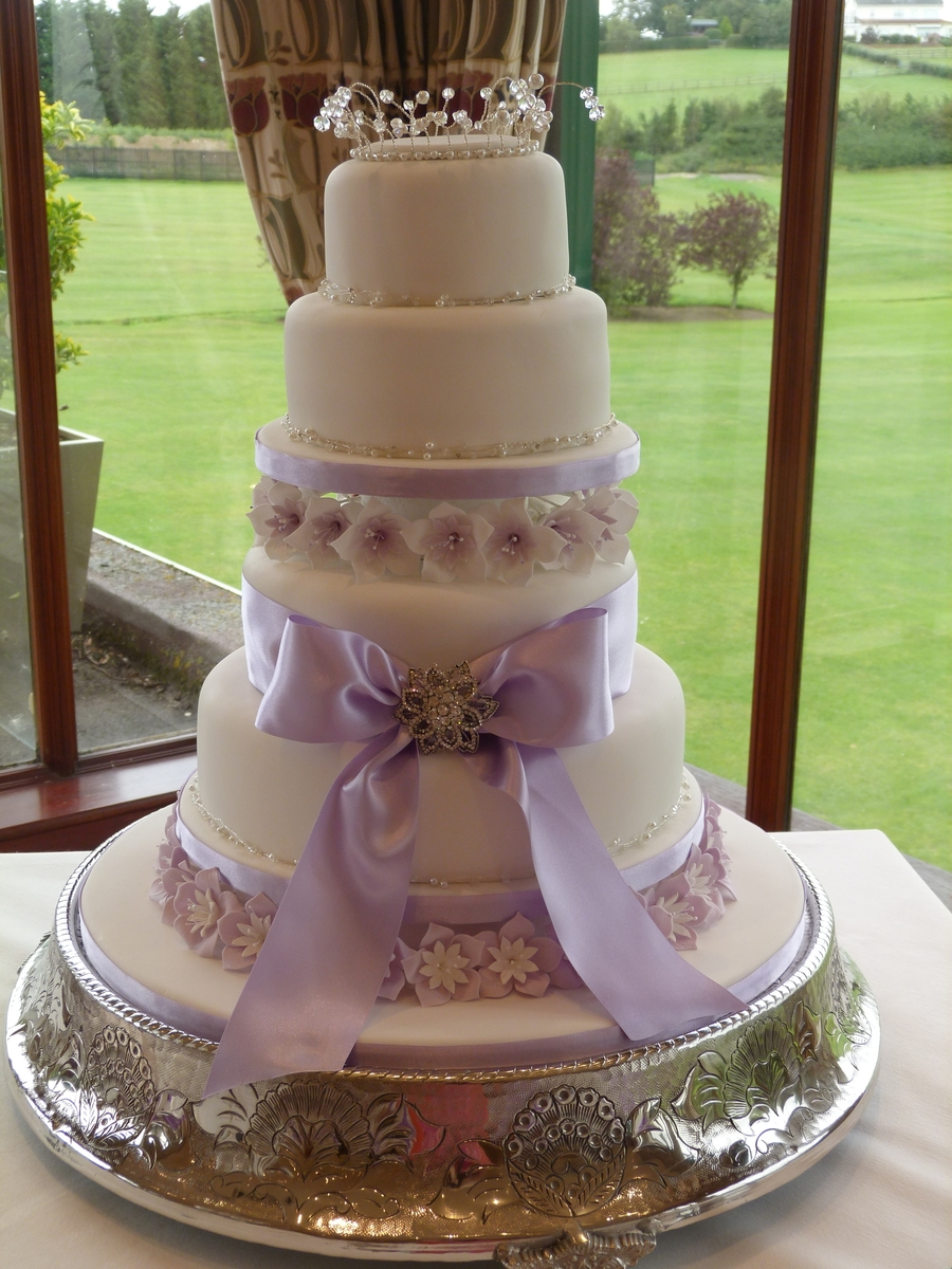 Lilac Flowers And Ribbon Wedding Cake Cakecentral Com