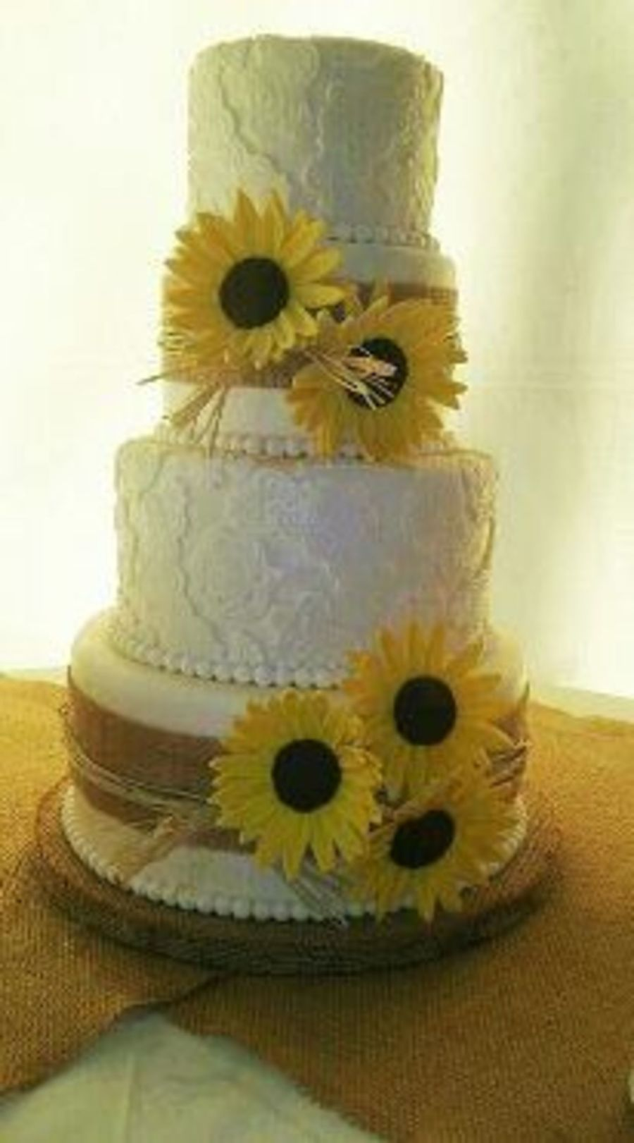 Burlap Lace And Sunflowers Cakecentral Com