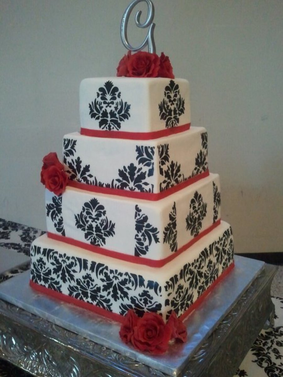 Damask Wedding on Cake Central