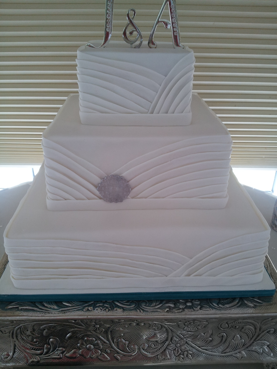 Fabric Inspired White Cake on Cake Central