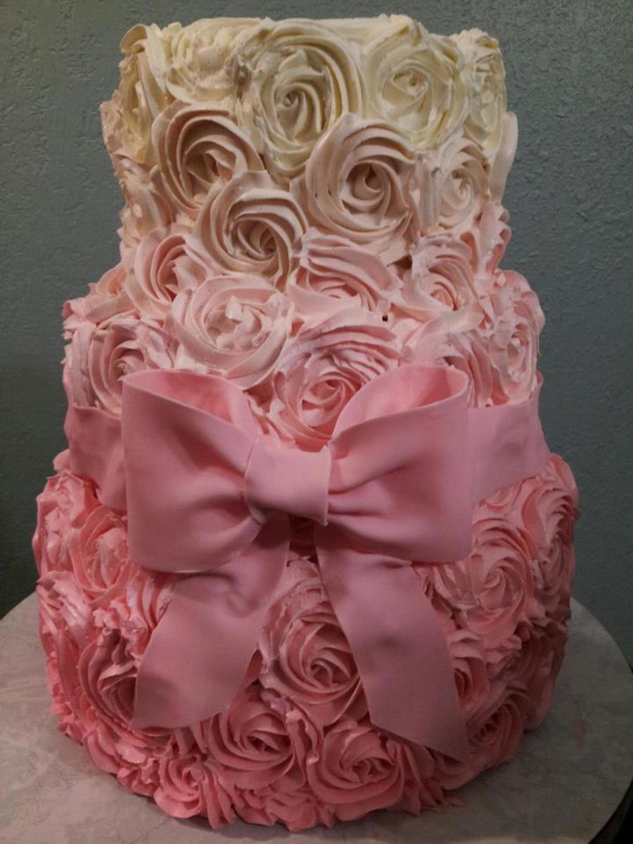 Ombre Pink Rose Cake - CakeCentral.com