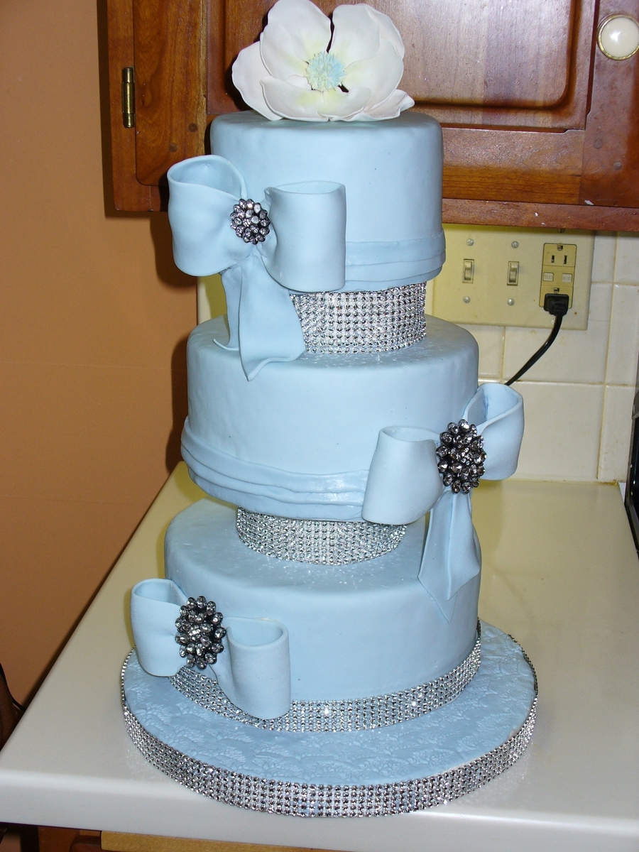 Bling Wedding Cake With Magnolia Flower on Cake Central