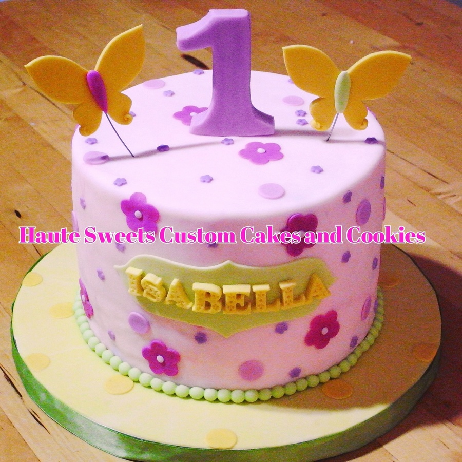 Girly First Birthday Cake on Cake Central