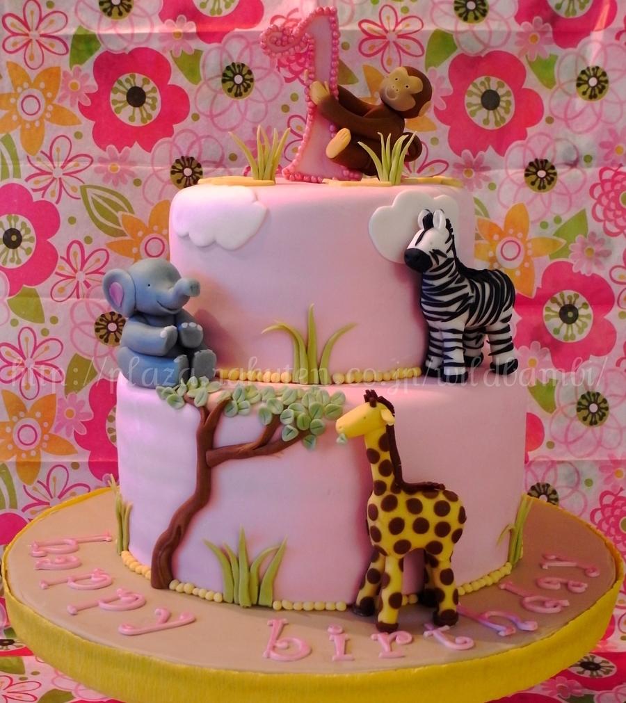 Pink Safari 1St Birthday Cake