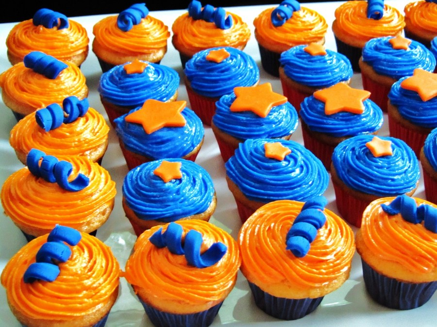 Blue And Orange Cupcakes on Cake Central
