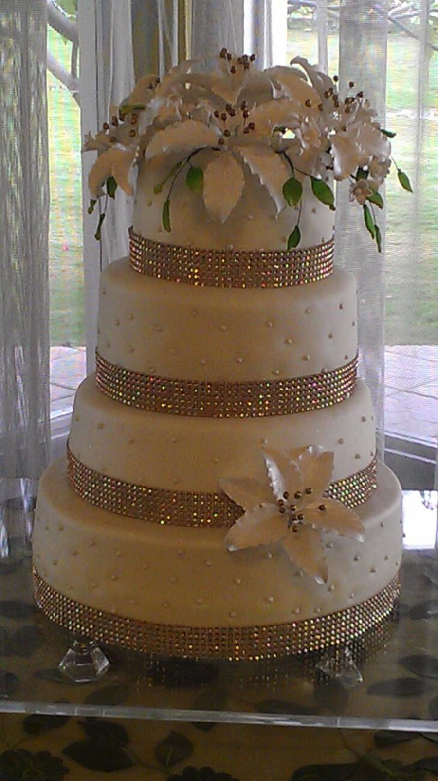 Almond Wedding Cake Covered With Marshmallow Fondant Filled With Nutella And Moisted With Amaretto Liquor on Cake Central