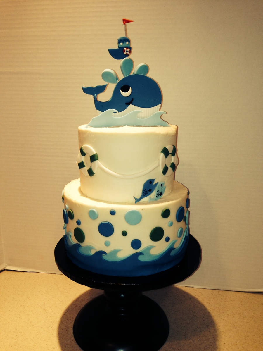whales and fish baby shower cake