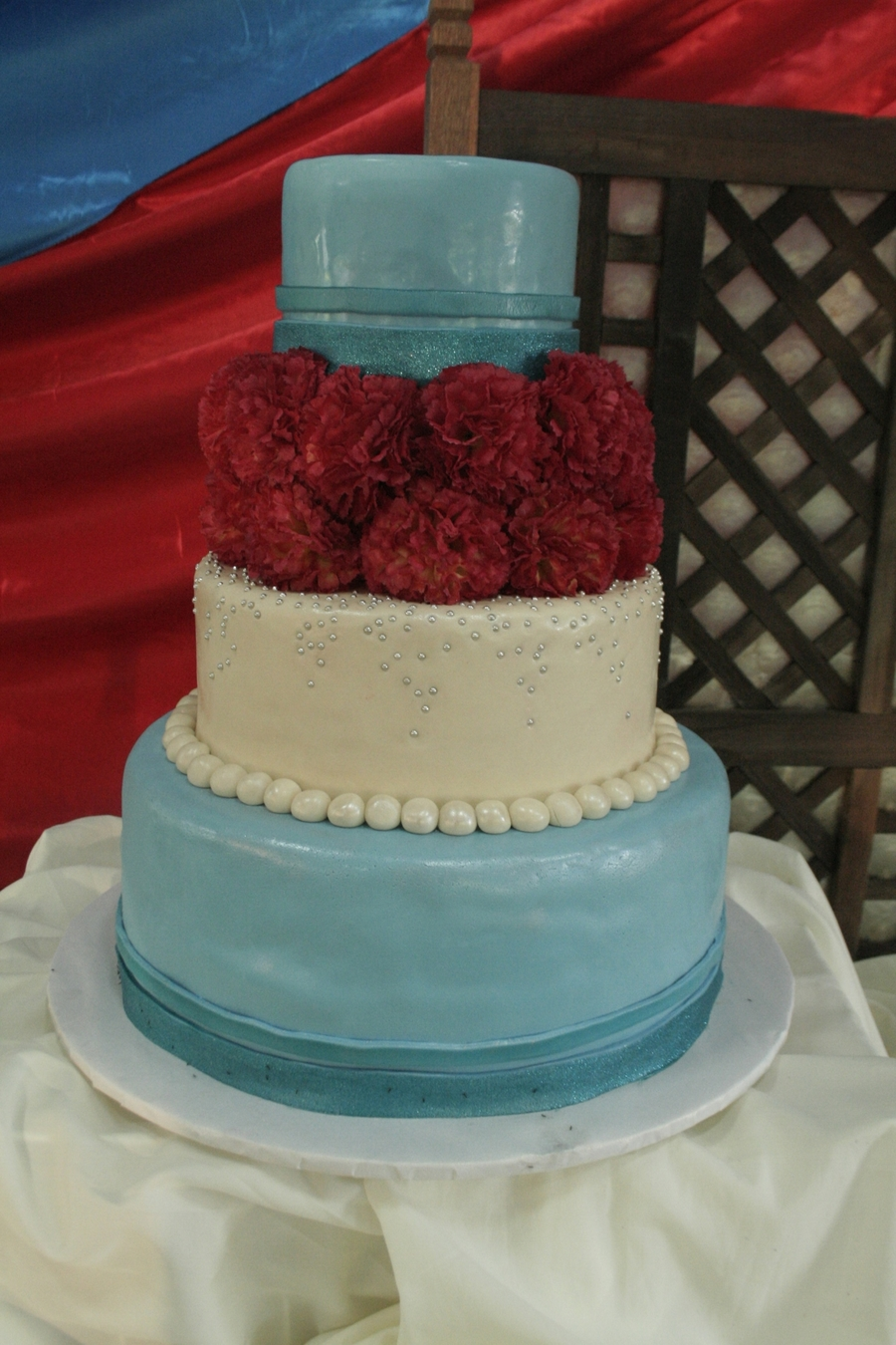 Red And Aqua Wedding on Cake Central