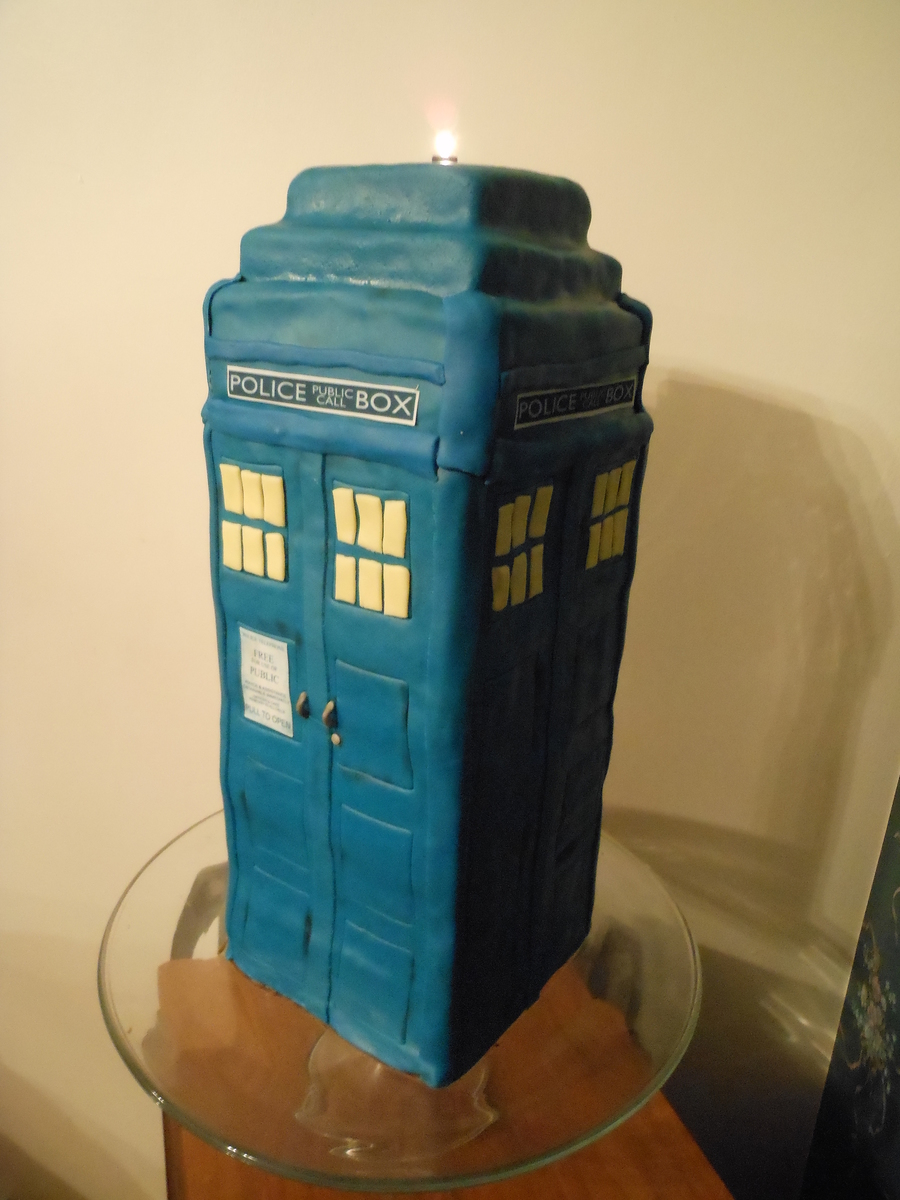 A German Chocolate Cake Tardis Cake Made For My Brother For His Birthday on Cake Central