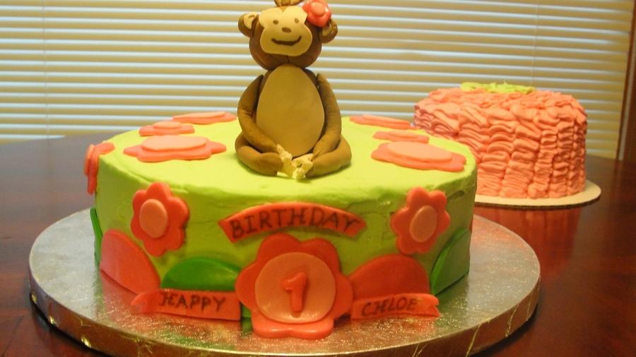 Superb Monkey First Birthday Cake And Ruffle Smash Cake Cakecentral Com Personalised Birthday Cards Veneteletsinfo