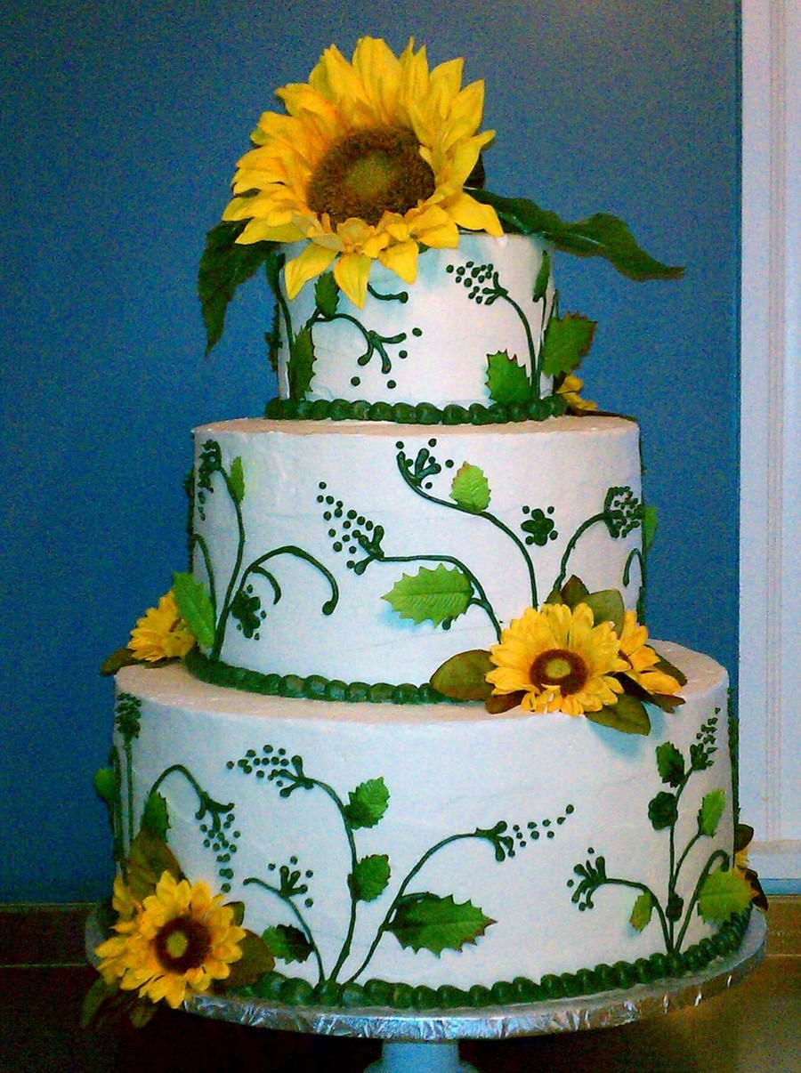 Sunflower Wedding Cake Cakecentral Com