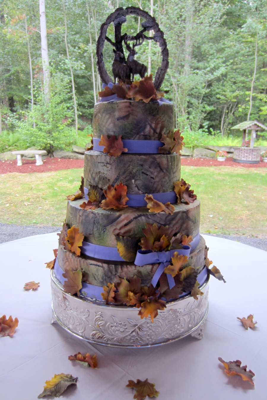 Camo Purple And Fall Leaves Wedding Cake With Buck And