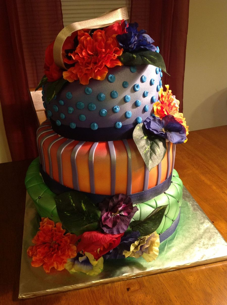 Fondant Covered Airbrushed Silk Flowers on Cake Central