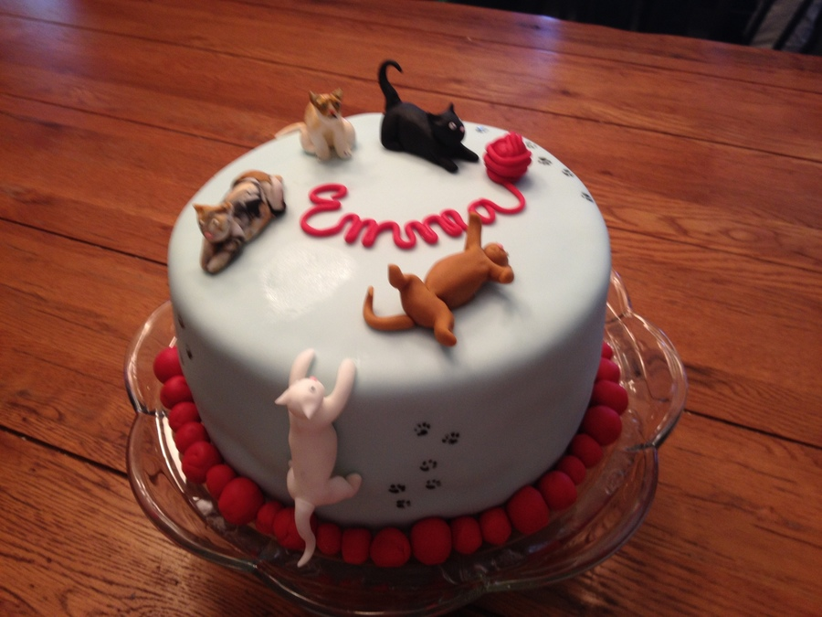 Cat Themed Birthday Cake Grumpy Cat Is There Too CakeCentralcom