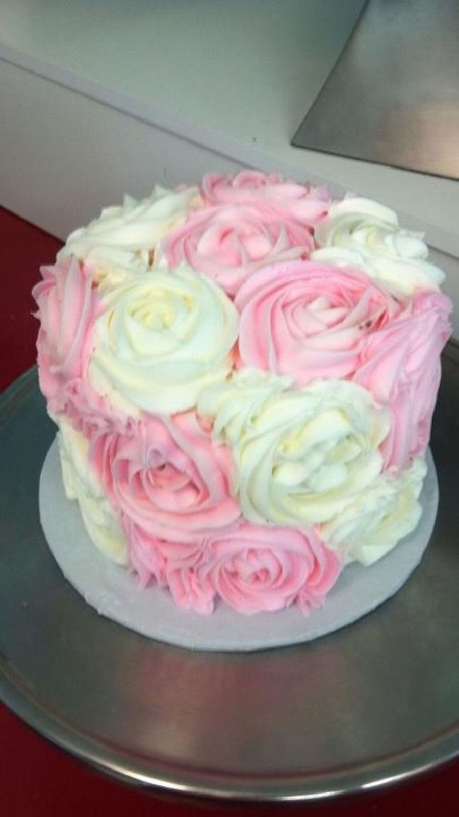 Pink Rosette Cake Images : Pink And White Rosette Cake - CakeCentral.com