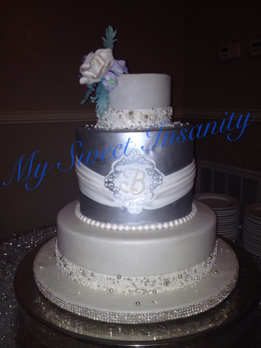 14 10 Double And 6 Covered In Fondant And Pearl And Sugar Encrusted Borders Middle Tier Is Silver With Monogramed Medalian Gumpaste on Cake Central
