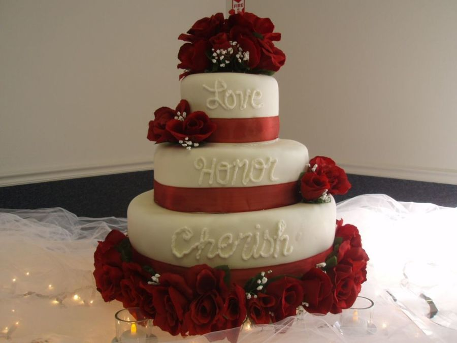 Love-Honor-Cherish Wedding Cake on Cake Central