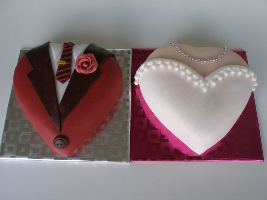 The Groom And The Bride Hearts  on Cake Central