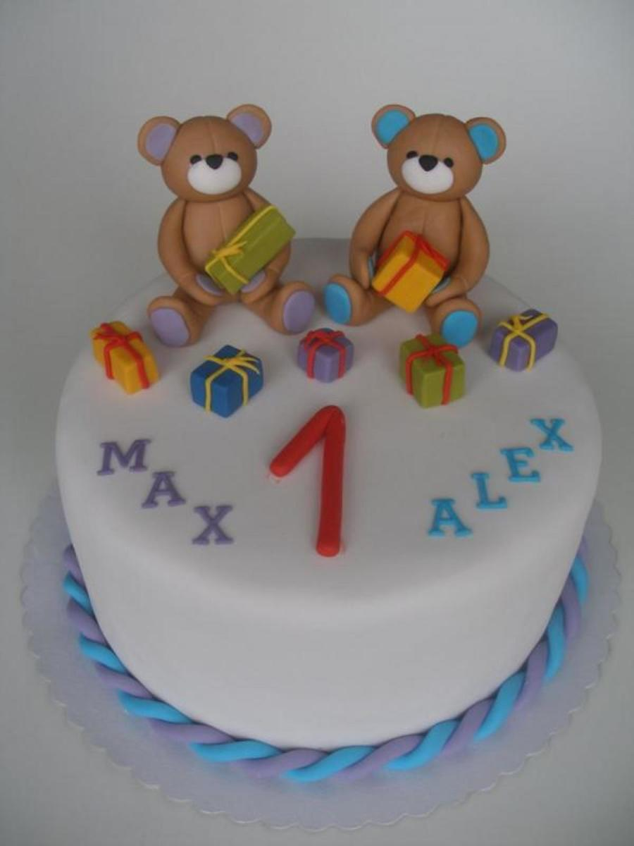 Twin Bear Birthday on Cake Central