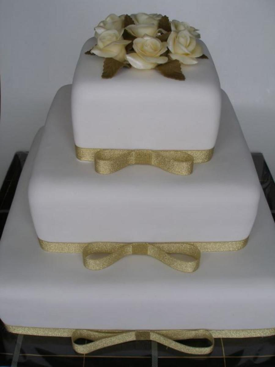 Gold And White Wedding on Cake Central