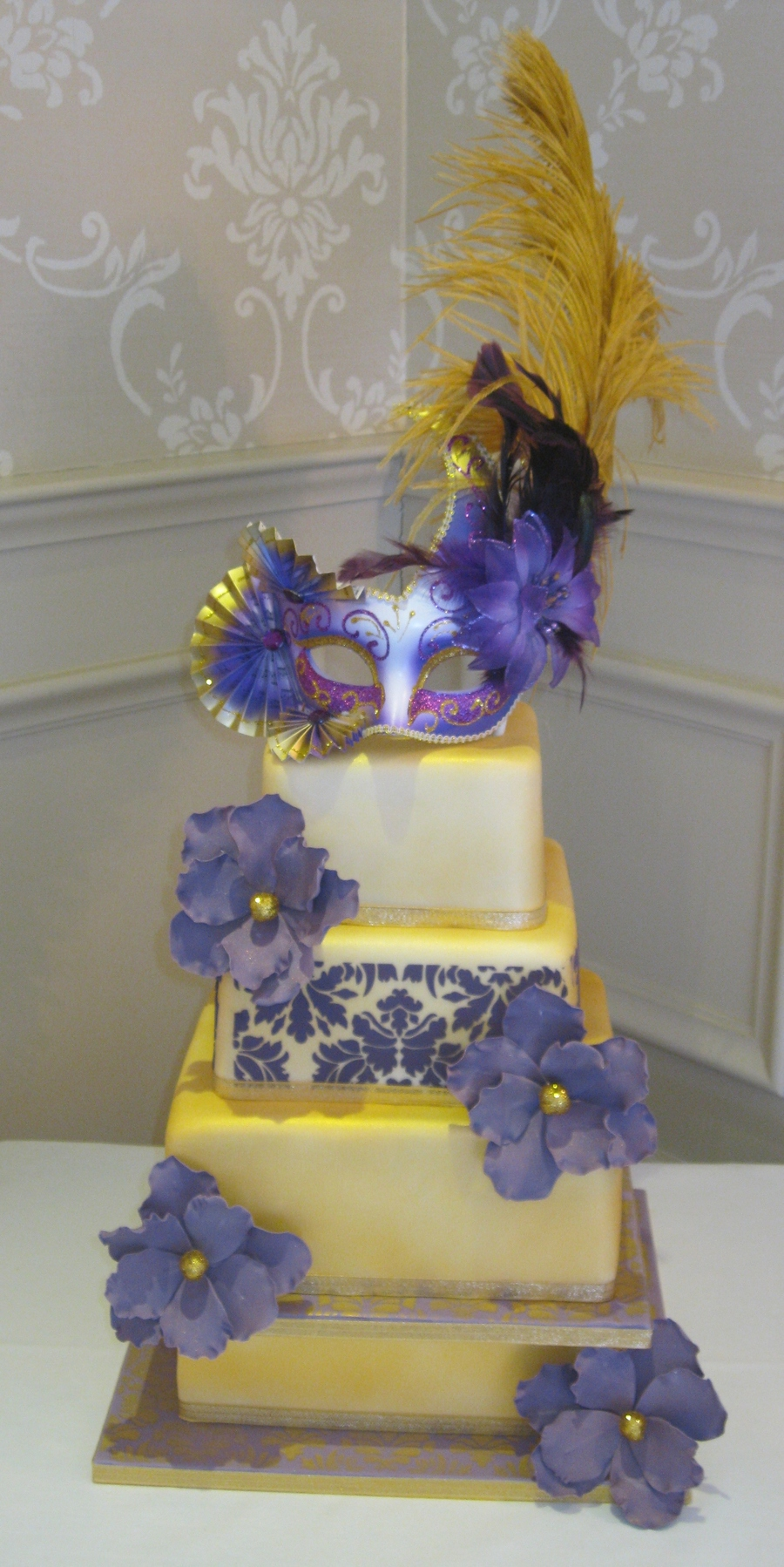 Gold And Purple Damask Masquerade Wedding Cake on Cake Central