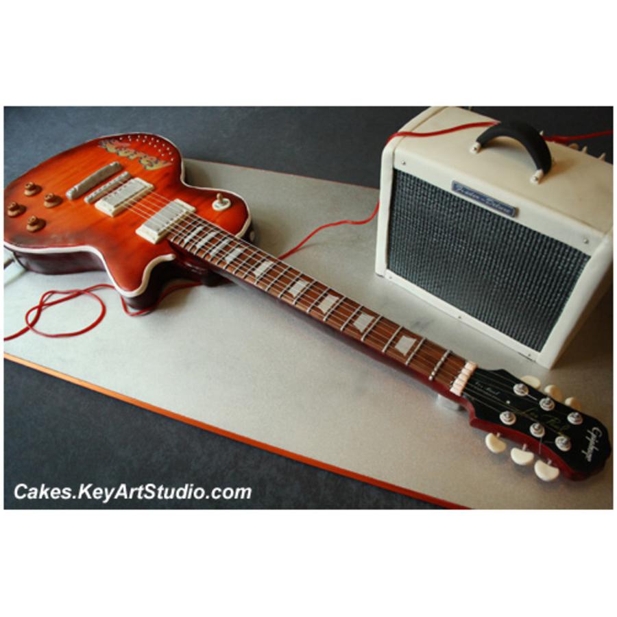 epiphone electric guitar and fender amplifier cake. Black Bedroom Furniture Sets. Home Design Ideas