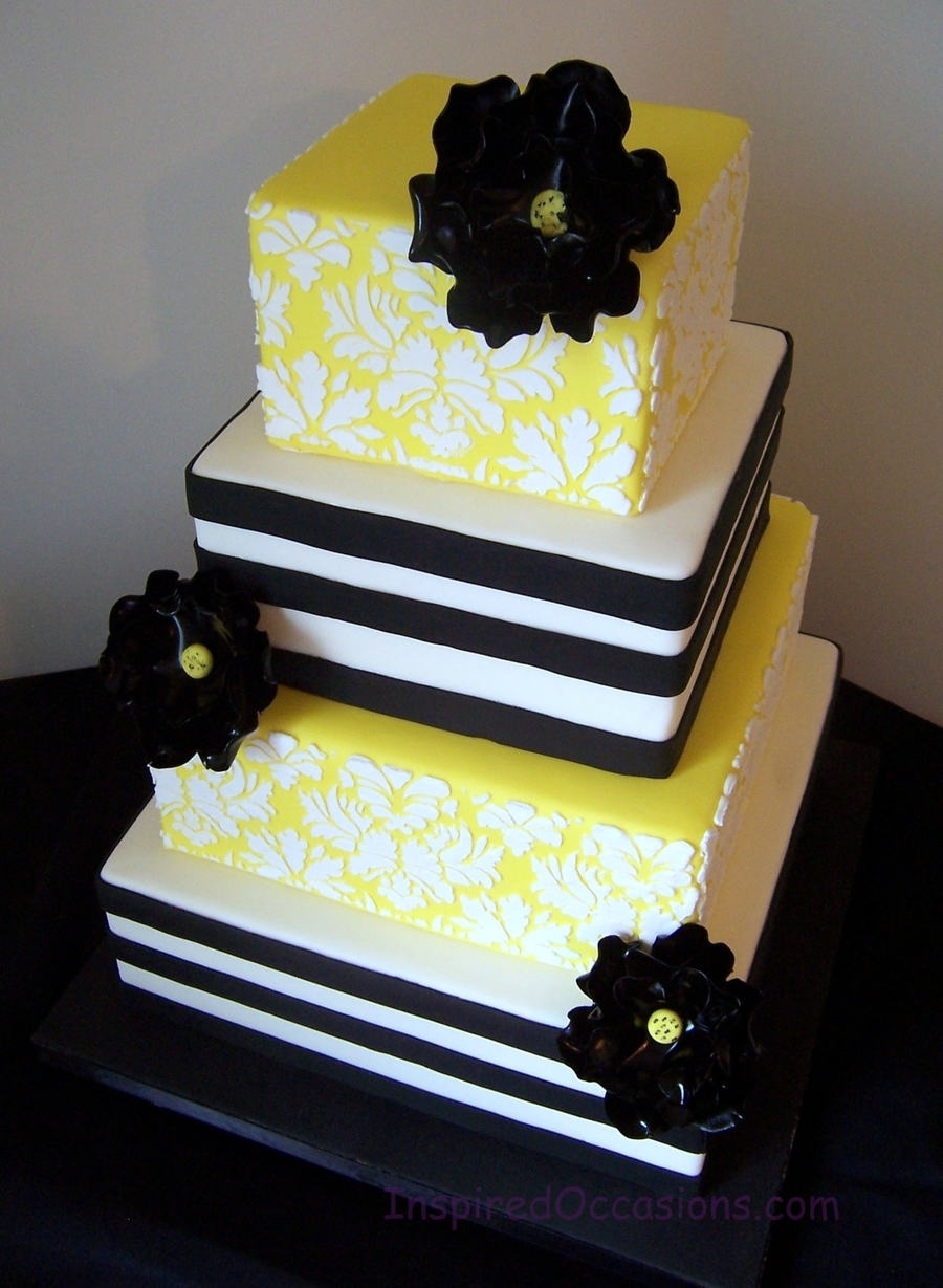Damask And Horizontal Stripes on Cake Central